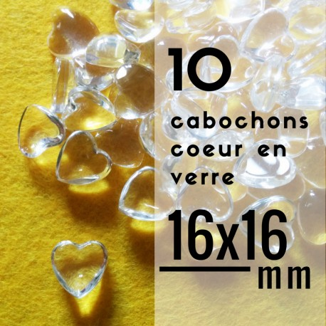 Cabochon coeur - 16 x 16 mm - En lot de 10