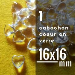 Cabochon coeur - 16 x 16 mm - A l'unité