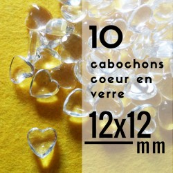 Cabochon coeur - 12 x 12 mm - En lot de 10
