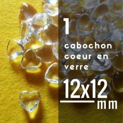 Cabochon coeur - 12 x 12 mm - A l'unité