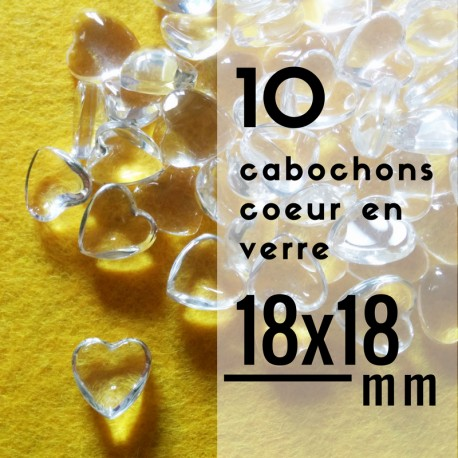 Cabochon coeur - 18 x 18 mm - En lot de 10