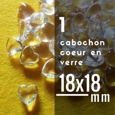 Cabochon coeur - 18 x 18 mm - A l'unité