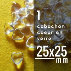 Cabochon coeur - 25 x 25 mm - A l'unité