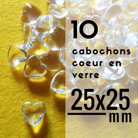 Cabochon coeur - 25 x 25 mm - En lot de 10