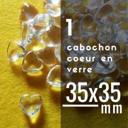 Cabochon coeur - 35 x 35 mm - A l'unité