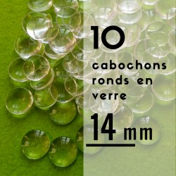 Cabochon rond - 14 x 14 mm - En lot de 10