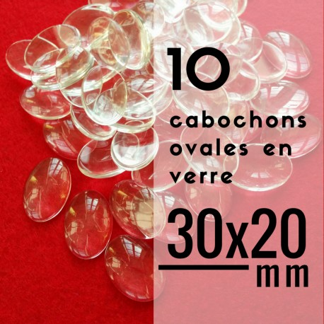Cabochon ovale - 30 x 20 mm - En lot de 10