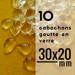 Cabochon goutte - 30 x 20 mm - En lot de 10
