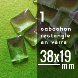 Cabochon rectangle - 38 x 19 mm - A l'unité