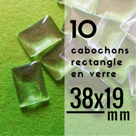 Cabochon rectangle - 38 x 19 mm - En lot de 10