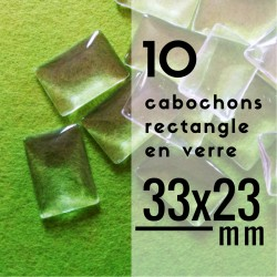 Cabochon rectangle - 33 x 23 mm - En lot de 10