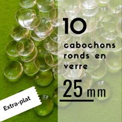 Extra plat - Cabochon rond - 25 x 25 mm - En lot de 10