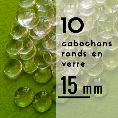 Cabochon rond - 15 x 15 mm - En lot de 10