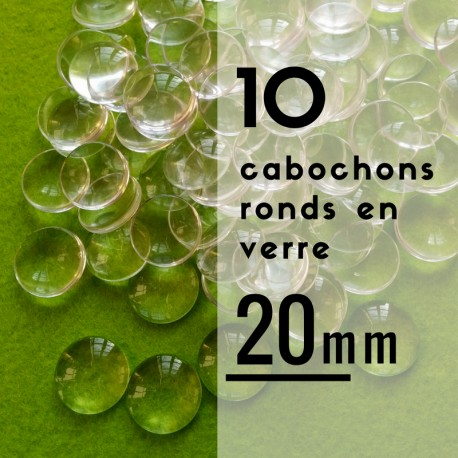 Cabochon rond - 20 x 20 mm - En lot de 10