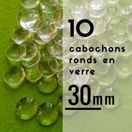 Cabochon rond - 30 x 30 mm - En lot de 10