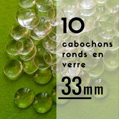 Cabochon rond - 33 x 33 mm - En lot de 10
