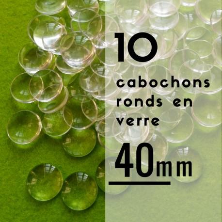Cabochon rond - 40 x 40 mm - En lot de 10