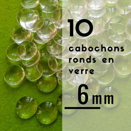 Cabochon rond - 6 x 6 mm - En lot de 10
