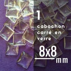 Cabochon carré - 8 x 8 mm - A l'unité