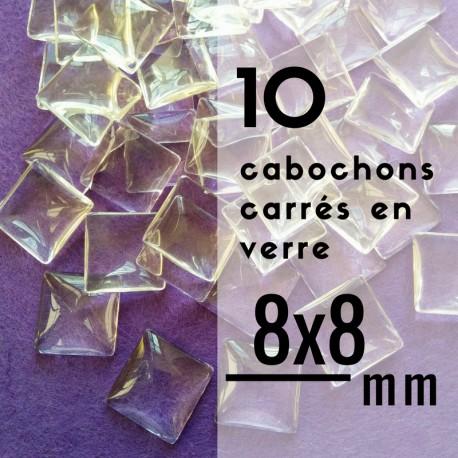 Cabochon carré - 8 x 8 mm - En lot de 10