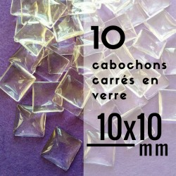 Cabochon carré - 10 x 10 mm - En lot de 10