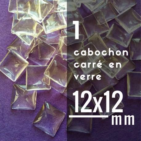 Cabochon carré - 12 x 12 mm - A l'unité