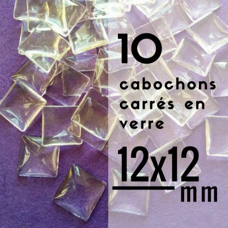 Cabochon carré - 12 x 12 mm - En lot de 10