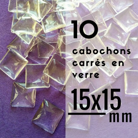 Cabochon carré - 15 x 15 mm - En lot de 10