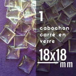 Cabochon carré - 18 x 18 mm - A l'unité