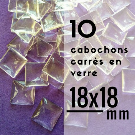Cabochon carré - 18 x 18 mm - En lot de 10
