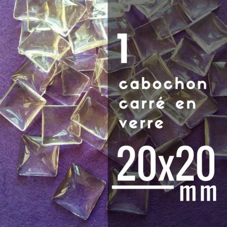 Cabochon carré - 20 x 20 mm - A l'unité