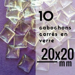 Cabochon carré - 20 x 20 mm - En lot de 10