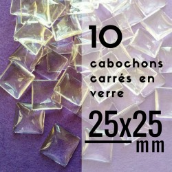 Cabochon carré - 25 x 25 mm - En lot de 10