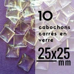 Cabochon carré - 25 x 25 mm - En lot de 10