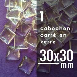 Cabochon carré - 30 x 30 mm - A l'unité