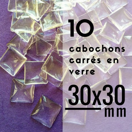 Cabochon carré - 30 x 30 mm - En lot de 10