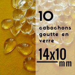 Cabochon goutte - 14 x 10 mm - En lot de 10