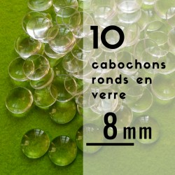 Cabochon rond - 8 x 8 mm - En lot de 10
