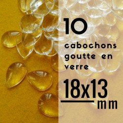 Cabochon goutte - 18 x 13 mm - En lot de 10