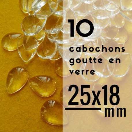 Cabochon goutte- 25 x 18 mm - En lot de 10