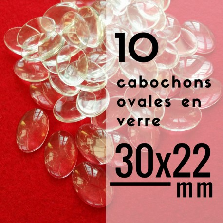 Cabochon ovale - 30 x 22 mm - En lot de 10