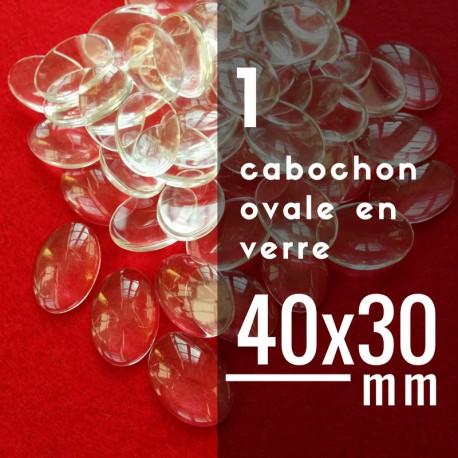 Cabochon ovale - 40 x 30 mm - A l'unité