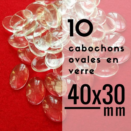 Cabochon ovale - 40 x 30 mm - En lot de 10