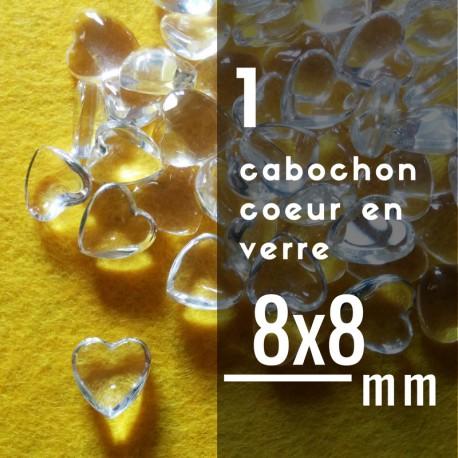 Cabochon coeur - 8 x 8 mm - A l'unité