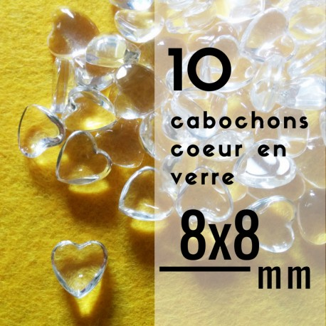 Cabochon coeur - 8 x 8 mm - En lot de 10