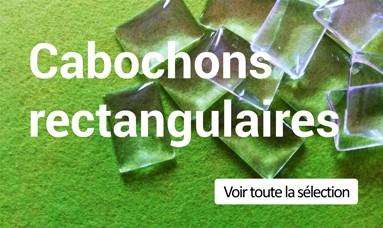 Des cabochons rectangulaires en verre transparents...