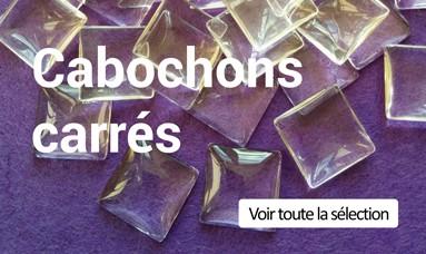 Des cabochons carrés en verre transparent